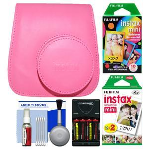 Fujifilm Groovy Camera Case for Instax Mini 9 - Flamingo Pink - with 20 Twin and 10 Rainbow Prints + - 4 - Batteries and Charger + Cleaning Kit