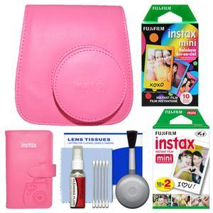 Fujifilm Groovy Camera Case for Instax Mini 9 - Flamingo Pink - with Photo Album + 20 Twin and 10 Rainbow Prints + Cleaning Kit