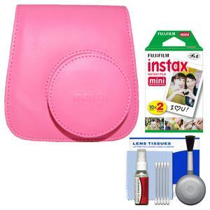 Fujifilm Groovy Camera Case for Instax Mini 9 - Flamingo Pink - with 20 Twin Prints + Cleaning Kit