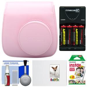 Fujifilm Groovy Camera Case for Instax Mini 8-Pink-with 20 Twin Prints and Album and-4-Batteries and Charger and Accessory Kit