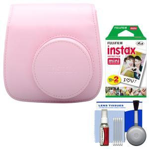 Fujifilm Groovy Camera Case for Instax Mini 8-Pink-with 20 Twin Prints and Cleaning Kit