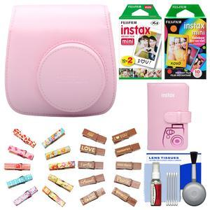 Fujifilm Groovy Camera Case for Instax Mini 8-Pink-with Mini Wallet and 20 Twin Color and 10 Rainbow Prints and Wood Peg Clips and Cleaning Kit