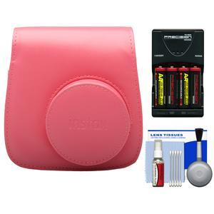 Fujifilm Groovy Camera Case for Instax Mini 8-Raspberry-with-4-Batteries and Charger and Accessory Kit