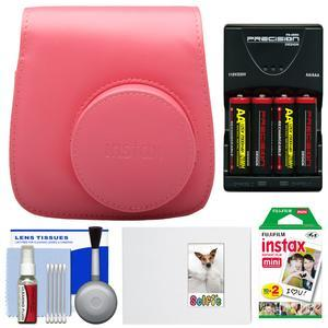 Fujifilm Groovy Camera Case for Instax Mini 8-Raspberry-with 20 Twin Prints and Album and-4-Batteries and Charger and Accessory Kit