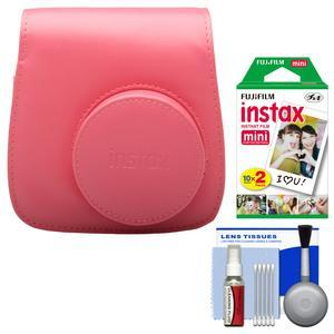 Fujifilm Groovy Camera Case for Instax Mini 8-Raspberry-with 20 Twin Prints and Cleaning Kit
