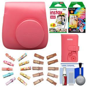 Fujifilm Groovy Camera Case for Instax Mini 8-Raspberry-with Mini Wallet and 20 Twin Color and 10 Rainbow Prints and Wood Peg Clips and Cleaning Kit