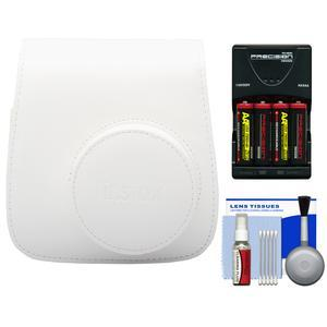 Fujifilm Groovy Camera Case for Instax Mini 8 - White - with - 4 - Batteries and Charger + Accessory Kit