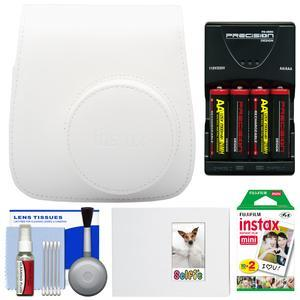 Fujifilm Groovy Camera Case for Instax Mini 8-White-with 20 Twin Prints and Album and-4-Batteries and Charger and Accessory Kit
