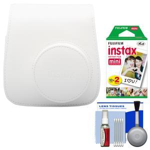 Fujifilm Groovy Camera Case for Instax Mini 8-White-with 20 Twin Prints and Cleaning Kit