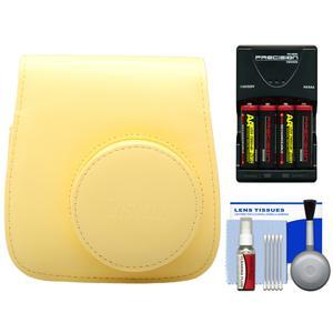 Fujifilm Groovy Camera Case for Instax Mini 8-Yellow-with-4-Batteries and Charger and Accessory Kit