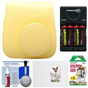Fujifilm Groovy Camera Case for Instax Mini 8-Yellow-with 20 Twin Prints and Album and-4-Batteries and Charger and Accessory Kit