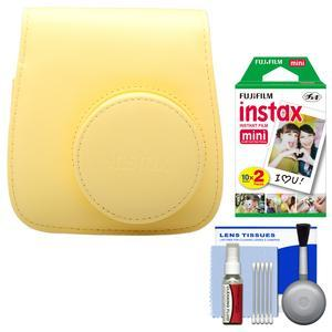 Fujifilm Groovy Camera Case for Instax Mini 8 - Yellow - with 20 Twin Prints + Cleaning Kit