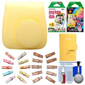 Fujifilm Groovy Camera Case for Instax Mini 8-Yellow-with Mini Wallet and 20 Twin Color and 10 Rainbow Prints and Wood Peg Clips and Cleaning Kit