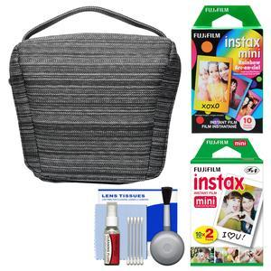 Fujifilm Camera Case for Instax Mini 8 25 70 and 90-Black-with 20 Twin Color and 10 Rainbow Prints and Cleaning Kit