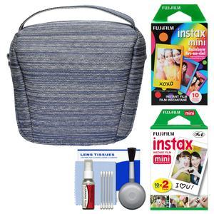 Fujifilm Camera Case for Instax Mini 8 9 25 70 and 90 - Blue - with 20 Twin Color and 10 Rainbow Prints + Cleaning Kit