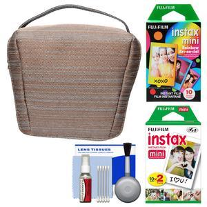 Fujifilm Camera Case for Instax Mini 8 9 25 70 and 90 - Tan - with 20 Twin Color and 10 Rainbow Prints + Cleaning Kit