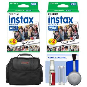 Essentials Bundle for Fujifilm Instax 210 and Wide 300 Instant Film Camera with 40 Wide Prints + Case + Cleaning Kit