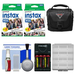 Essentials Bundle for Fujifilm Instax 210 and Wide 300 Instant Film Camera with 40 Wide Prints and Case and Battery and Charger and Cleaning Kit