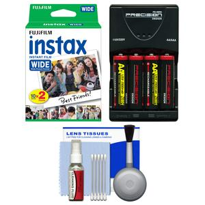 Essentials Bundle for Fujifilm Instax 210 and Wide 300 Instant Film Camera with 20 Wide Prints and Battery and Charger and Cleaning Kit