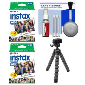 Essentials Bundle for Fujifilm Instax Wide 300 Instant Film Camera with 40 Wide Prints and Flex Tripod and Cleaning Kit