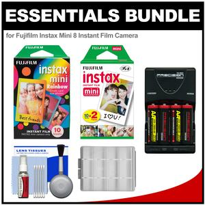 Essentials Bundle for Fujifilm Instax Mini 8 Instant Film Camera with 20 Twin and 10 Rainbow Prints + Batteries and Charger + Kit