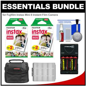 Essentials Bundle for Fujifilm Instax Mini 8 Instant Film Camera with 40 Twin Color Prints + Batteries and Charger + Case + Kit