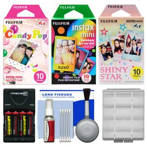 Essentials Bundle for Fujifilm Instax Mini 8 Instant Film Camera with 30 Candy-Rainbow-Shiny Star Prints and Battery and Charger and Cleaning Kit