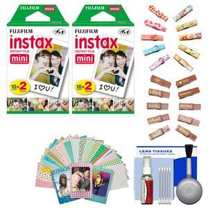 Essentials Bundle for Fujifilm Instax Mini 8 Mini 70 & Mini 90 Instant Film Camera with 40 Twin Color Prints + Wood Peg Clips + Frame Stickers + Cleaning Kit
