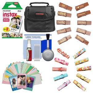 Essentials Bundle for Fujifilm Instax Mini 8 Mini 70 and Mini 90 Instant Film Camera with 20 Twin Color Prints + Wood Peg Clips + Frame Stickers + Case + Cleaning Kit
