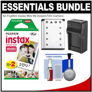 Essentials Bundle for Fujifilm Instax Mini 90 Instant Film Camera with 20 Twin Color Prints and Battery and Charger and Cleaning Kit