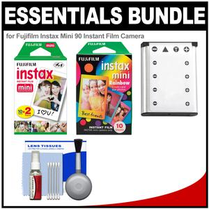 Essentials Bundle for Fujifilm Instax Mini 90 Instant Film Camera with 20 Twin Prints and 10 Rainbow Prints + Battery + Cleaning Kit