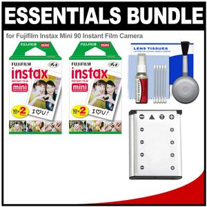 Essentials Bundle for Fujifilm Instax Mini 90 Instant Film Camera with 40 Twin Color Prints and Battery and Cleaning Kit