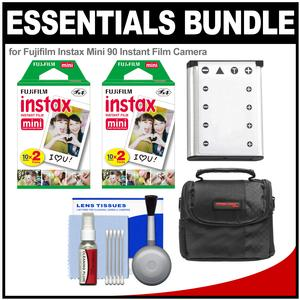 Essentials Bundle for Fujifilm Instax Mini 90 Instant Film Camera with 40 Twin Color Prints and Battery and Case and Cleaning Kit