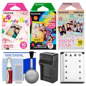Essentials Bundle for Fujifilm Instax Mini 90 Instant Film Camera with 30 Candy-Rainbow-Shiny Star Prints and Battery and Charger and Cleaning Kit