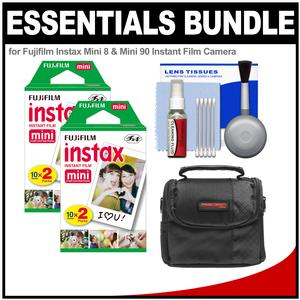 Essentials Bundle for Fujifilm Instax Mini 8  Mini 70 and Mini 90 Instant Film Camera with 40 Twin Color Prints and Case and Cleaning Kit
