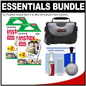 Essentials Bundle for Fujifilm Instax Mini 8 Mini 70 and Mini 90 Instant Film Camera with 40 Twin Color Prints + Case + Cleaning Kit