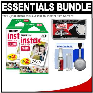 Essentials Bundle for Fujifilm Instax Mini 8 Mini 70 and Mini 90 Instant Film Camera with 40 Twin Color Prints and Accessory Kit