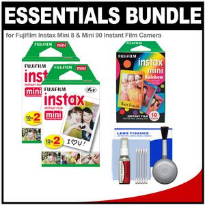 Essentials Bundle for Fujifilm Instax Mini 8 Mini 70 and Mini 90 Instant Film Camera with 20 Twin and 10 Rainbow Prints and Cleaning Kit