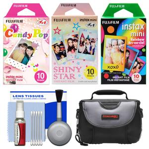 Essentials Bundle for Fujifilm Instax Mini 8 Mini 70 and Mini 90 Instant Film Camera with 30 Candy-Rainbow-Shiny Star Prints and Case and Cleaning Kit