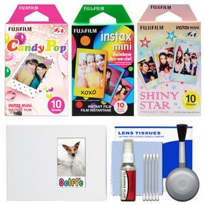 Essentials Bundle for Fujifilm Instax Mini 8 Mini 70 and Mini 90 Instant Film Camera with 30 Candy-Rainbow-Shiny Star Prints and Cleaning Kit