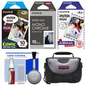 Essentials Bundle for Fujifilm Instax Mini 8 Mini 70 and Mini 90 Instant Film Camera with 30 Comic-Monochrome-Airmail Prints and Case and Cleaning Kit