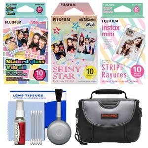 Essentials Bundle for Fujifilm Instax Mini 8 Mini 70 and Mini 90 Instant Film Camera with 30 Stained Glass-Shiny Star- Stripe Prints + Case + Cleaning Kit