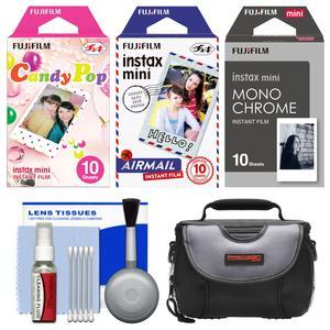 Essentials Bundle for Fujifilm Instax Mini 8 Mini 70 and Mini 90 Instant Film Camera with 30 Candy Pop-Airmail-Monochrome Prints and Case and Cleaning Kit