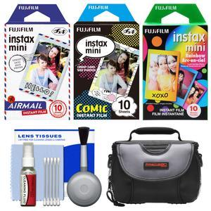 Essentials Bundle for Fujifilm Instax Mini 8 Mini 70 and Mini 90 Instant Film Camera with 30 Airmail-Comic-Rainbow Prints + Case + Cleaning Kit