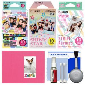 Essentials Bundle for Fujifilm Instax Mini 8 Mini 70 and Mini 90 Instant Film Camera with 30 Stained Glass-Shiny Star-Stripe Prints + Cleaning Kit