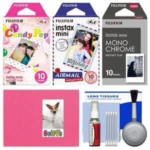 Essentials Bundle for Fujifilm Instax Mini 8 Mini 70 and Mini 90 Instant Film Camera with 30 Candy Pop-Airmail-Monochrome Prints and Cleaning Kit