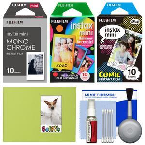 Essentials Bundle for Fujifilm Instax Mini 8 Mini 70 and Mini 90 Instant Film Camera with 30 Monochrome-Rainbow-Comic Prints and Cleaning Kit
