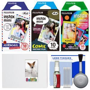 Essentials Bundle for Fujifilm Instax Mini 8 Mini 70 and Mini 90 Instant Film Camera with 30 Airmail-Comic-Rainbow Prints and Cleaning Kit
