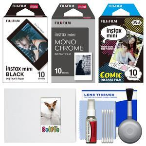 Essentials Bundle for Fujifilm Instax Mini 8 Mini 70 and Mini 90 Instant Film Camera with 30 Black-Monochrome-Comic Prints and Cleaning Kit