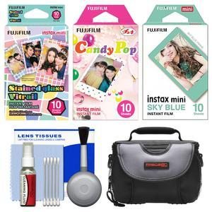 Essentials Bundle for Fujifilm Instax Mini 8 Mini 70 and Mini 90 Instant Film Camera with 30 Stained Glass-Candy Pop-Sky Blue Prints and Case and Cleaning Kit